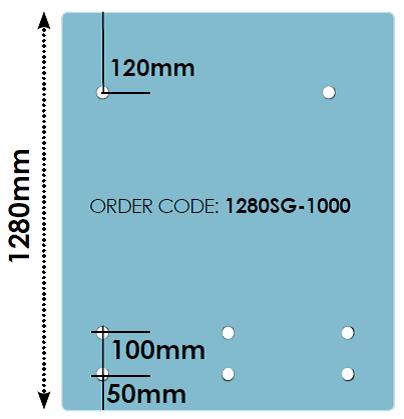 1280mm Front Rail Stand Off Glass Panels 12mm Fully Frameless - Pre-Drilled Handrail Range