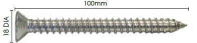 Wood Screw - M10 x 100mm Thread 316 Stainless Steel Hex Head Countersunk