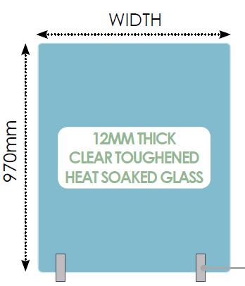 970mm Top Rail Spigot Glass Panels 12mm Fully Frameless - Hand Rail Cap Over Range